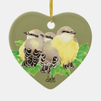 Custom Dated, Western Kingbird, Cuddling Bird Christmas Ornament