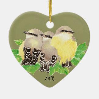 Custom Dated, Western Kingbird, Cuddling Bird Christmas Ornament