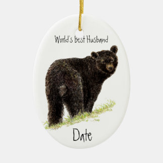 Custom Dated World's Best Husband Black Bear Christmas Ornament