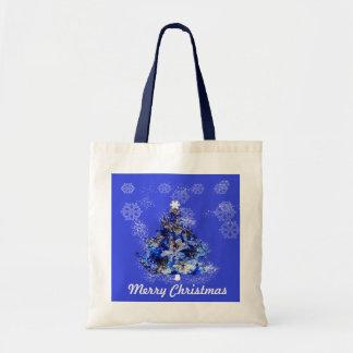 Custom decorated blue christmas tree budget tote bag