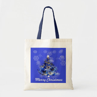 Custom decorated blue christmas tree budget tote bag
