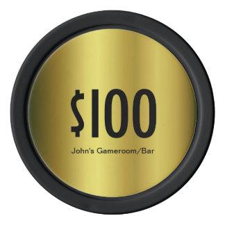 Custom Denomination Golden poker chip Poker Chips