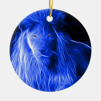 Custom Designed Fractal Lion Christmas Ornament