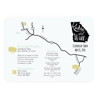 Custom designed Wedding Map 14 Cm X 19 Cm Invitation Card