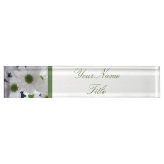 Custom Desk Name Plate White Flowers Daisy