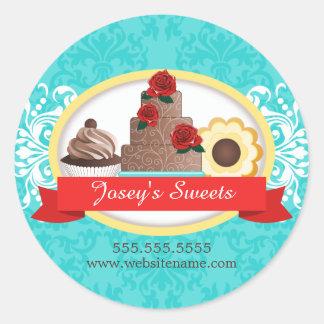 Custom Desserts Bakery Box Seals Round Sticker