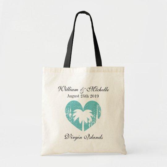 Custom destination vintage beach wedding tote bag