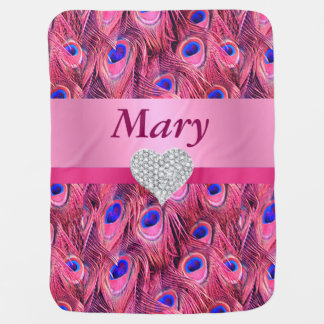 Custom Diamond Heart Pink Peacock Baby Blanket