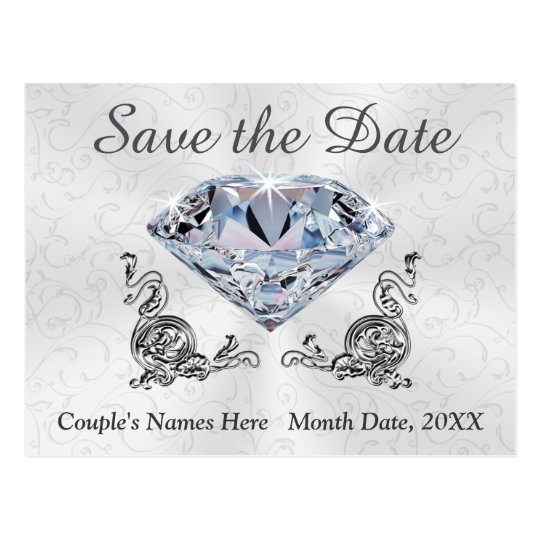 Custom Diamond Wedding Save the Date Post Cards