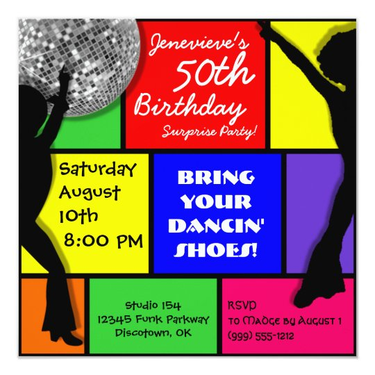 Custom Disco Birthday Party Invitations