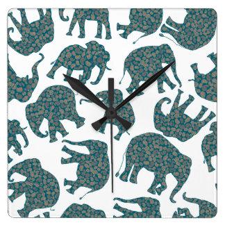 Custom Ditzy Paisley Elephants on White Wall Clock