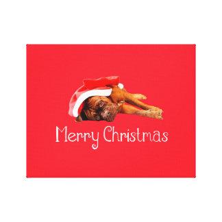 Custom Dogue De Bordeaux Santa Hat Merry Christmas Gallery Wrapped Canvas