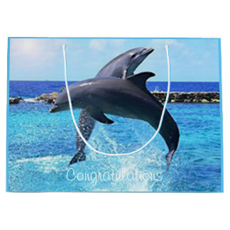 Custom dolphins playing in the ocean large gift bag
