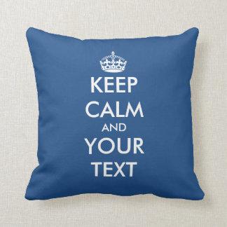 Custom double sided Keep calm throw pillow | blue