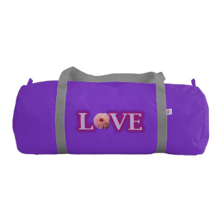 Custom Duffle Gym Bag, Purple with Silver straps Gym Duffel Bag