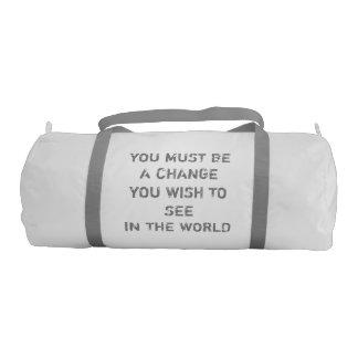 Custom Duffle Gym Bag, White with Silver straps Gym Duffel Bag