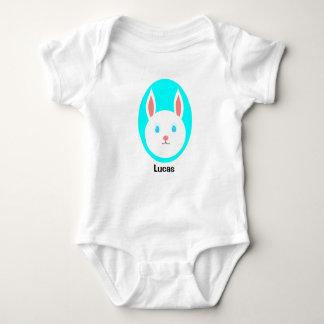 Custom Easter Bunny Baby Bodysuit - Blue Accent