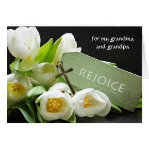 Grandfather easter gifts gift ideas zazzle uk custom easter for grandparents tulips and cross card negle Image collections