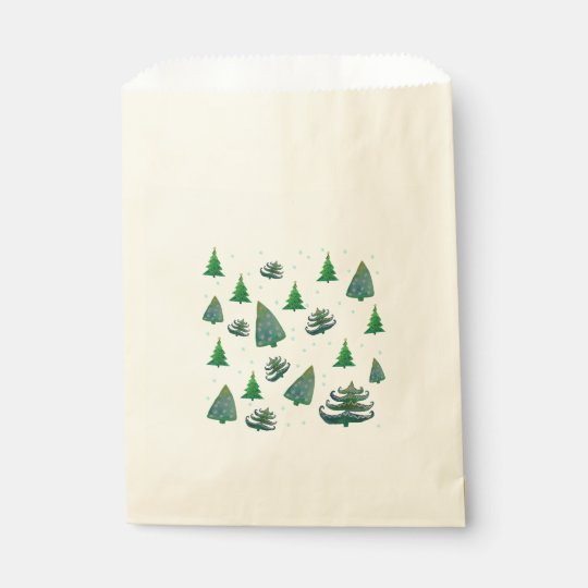Custom Ecru Favor Bag Christmas Trees