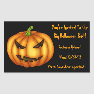 Custom Eerie Pumpkin Party Invitation Sticker