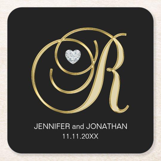 Custom Elegant Black Gold Monogram Letter Wedding Square