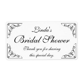 Custom elegant bridal shower water bottle labels