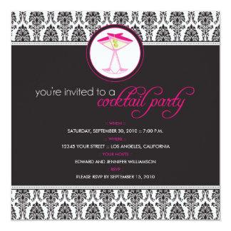 ":custom: Elegant Damask Cocktail Party Invitation 5.25"" Square Invitation Card"