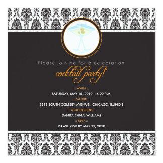 :custom Elegant Damask Cocktail Party Invitation_2 13 Cm X 13 Cm Square Invitation Card