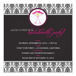 :custom: Elegant Damask Cocktail Party Invite_v3 13 Cm X 13 Cm Square Invitation Card