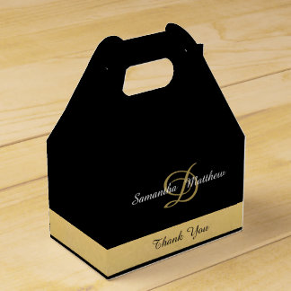 Custom Elegant Gold Black Color Monogram Initials Favour Box