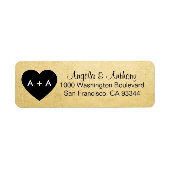 Custom Elegant Gold Heart Wedding Return Address Return Address Label