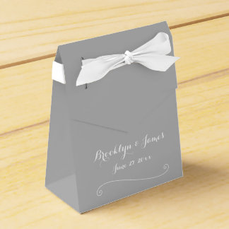 Custom Elegant Grey Wedding Favor Boxes Tent