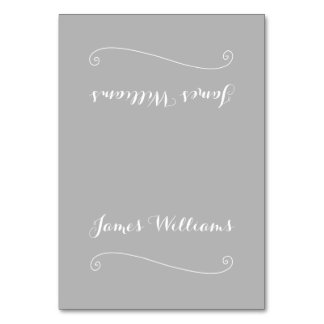 Custom Elegant Grey White Place Setting Cards