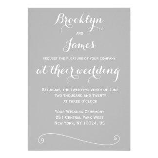 Custom Elegant Grey White Wedding Invitations