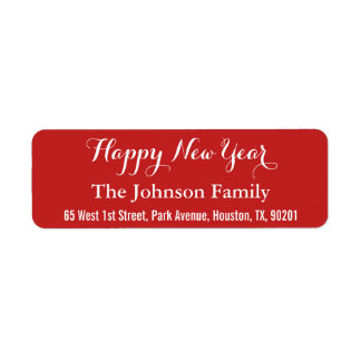 Custom Elegant Happy New Year Red Return Address
