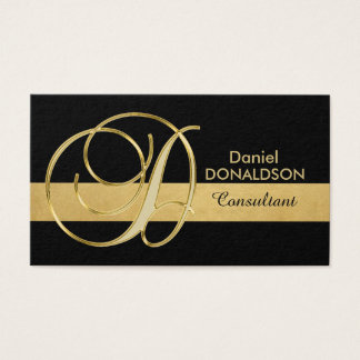 Custom Elegant Monogrammed Gold Black Initial 'D' Business Card