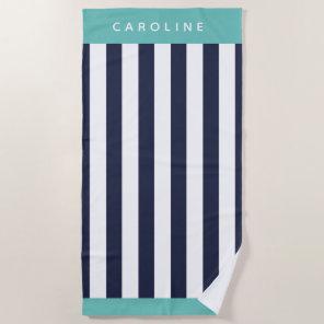 Custom elegant navy blue bold stripe pattern beach towel