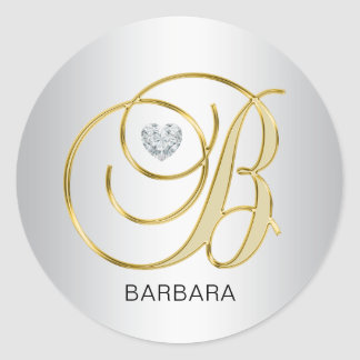 Custom Elegant Silver Gold Monogrammed Initial B Round Sticker