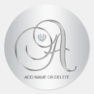 Custom Elegant Silver Monogrammed Initial Letter A Round Sticker