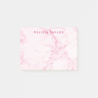 Custom elegant soft pink marble post-it notes