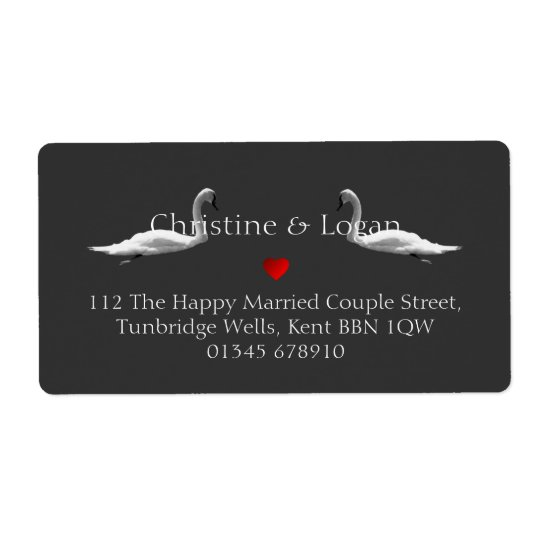 Custom Elegant Swan Wedding Return Address Label