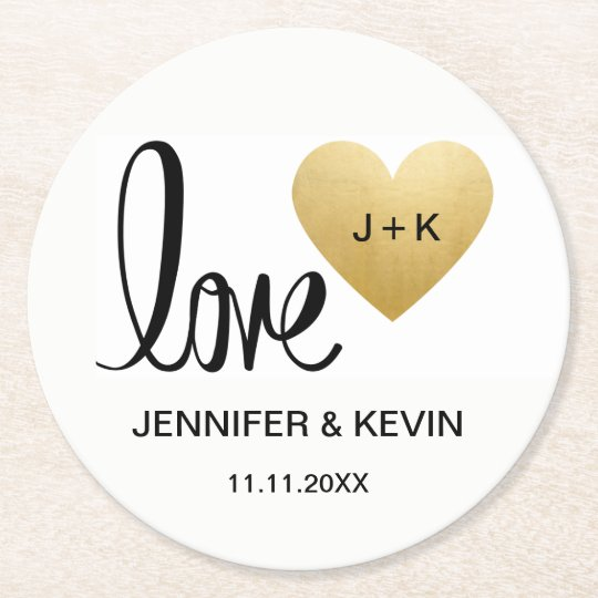 Custom Elegant White Gold Monogram Heart Wedding Round