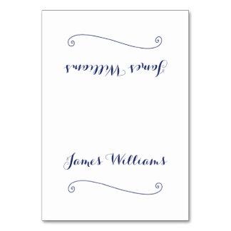 Custom Elegant White Place Setting Cards Table Card