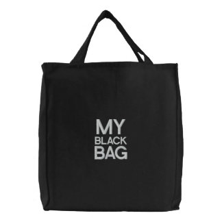 Custom Embroidered Bag, My Black Bag, Quote Color Embroidered Bag