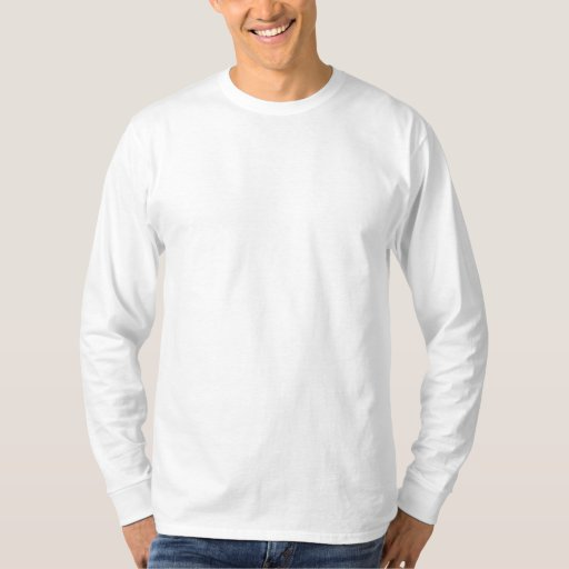White Embroidered Men's Embroidered Long Sleeve T-Shirt