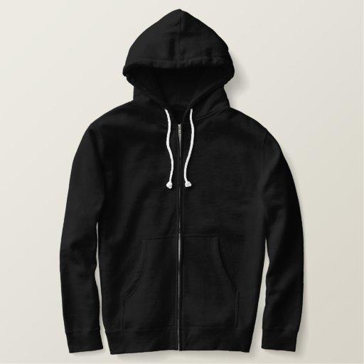 Black Embroidered Basic Zip Hoodie