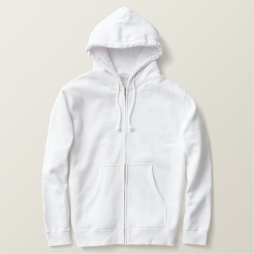 White Embroidered Basic Zip Hoodie