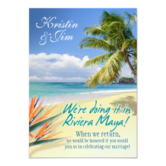 CUSTOM EMERALD WATERS (Riviera Maya) wedding Card