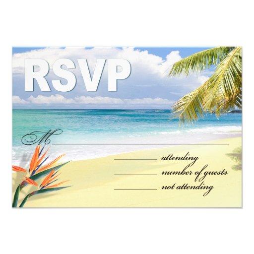 CUSTOM EMERALD WATERS RSVP (Beach) Custom Invitations