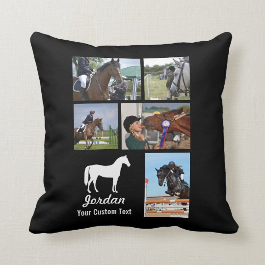 Custom Equestrian Horse Riding Photo Collage Name Cushion